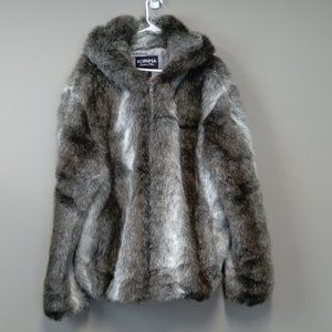 Olympia Faux Fur Mid length hooded coat Vintage